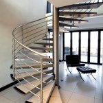 cool-black-barcelona-chair-with-ottoman-idea-also-moderns-spiral-staircase-design-with-stainless-steel-railing